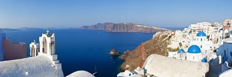 Blue Domed Churches in the Village of Oia, Santorini (Thira), Cyclades Islands, Aegean Sea, Greece Photographic Print