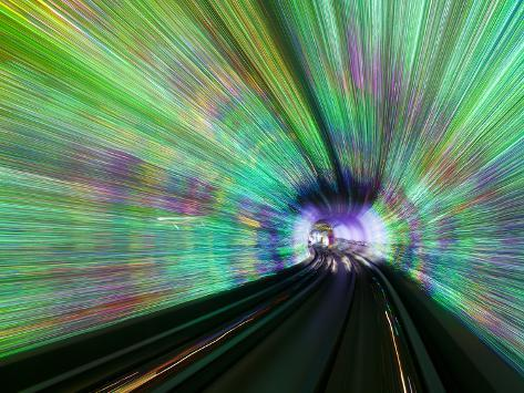 Blurred Motion Light Trails in an Train Tunnel under the Huangpu River Linking the Bund to Pudong,  Photographic Print