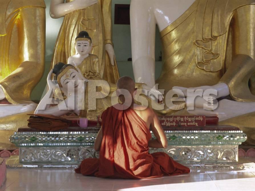 Buddhist Monk Worshipping at Shwedagon Paya (Shwe Dagon Pagoda), Yangon  (Rangoon), Myanmar (Burma)