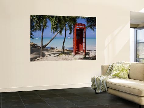 Caribbean, Antigua, Dickenson Bay, English Red Telephone Box Giant Art Print