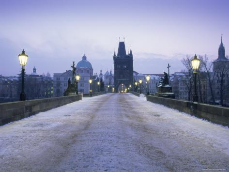Charles Bridge in Winter Snow, Prague, Unesco World Heritage Site, Czech Republic, Europe Photographic Print