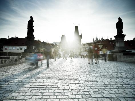 Charles Bridge, Prague, UNESCO World Heritage Site, Czech Republic Photographic Print