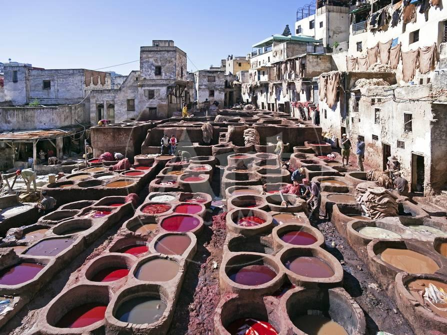 Chouwara Traditional Leather Tannery, Vats for Leather Hides and Skins,  Fez, Morocco