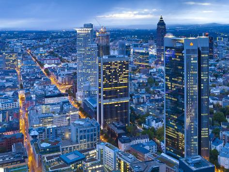 City Centre from Above at Dusk, Frankfurt, Hesse, Germany, Europe Photographic Print