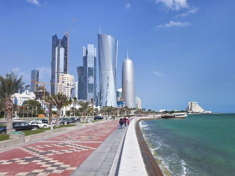 Corniche Towards New Skyline of West Bay Central Financial District, Doha, Qatar, Middle East Photographic Print