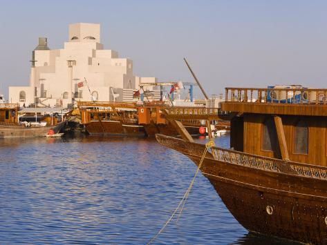 Dhow in Front of the Museum of Islamic Art, Doha, Qatar, Middle East Photographic Print