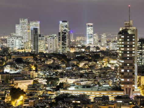 Elevated City View Towards the Commercial and Business Centre, Tel Aviv, Israel, Middle East Photographic Print