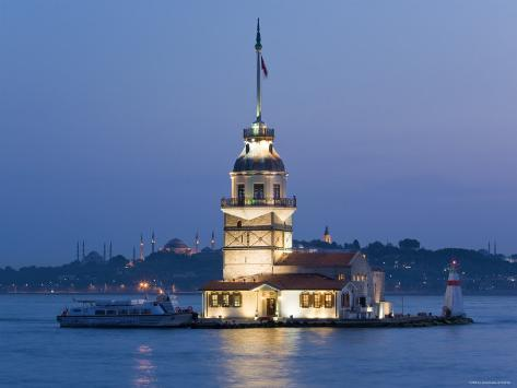Kizkulesi, Bosphorus River, Istanbul, Turkey Photographic Print