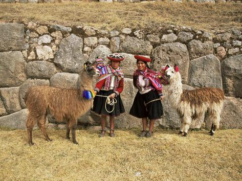 Local Women and Llamas in Front of Inca Ruins, Near Cuzco, Peru, South America Photographic Print