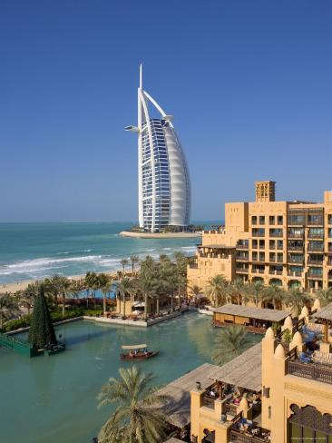 Mina a Salam and Burj Al Arab Hotels, Dubai, United Arab Emirates Photographic Print