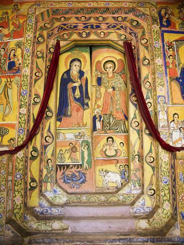 Murals in the Inner Sanctuary of the Christian Church of Ura Kedane Meheriet, Ethiopia Photographic Print