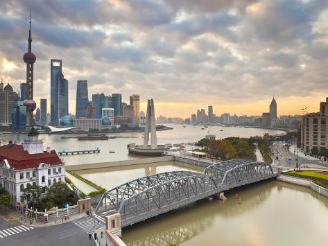 New Pudong Skyline; Waibaidu (Garden) Bridge; Looking across the Huangpu River from the Bund; Shang Photographic Print