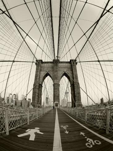 New York City, Manhattan, Brooklyn Bridge at Dawn, USA Photographic Print