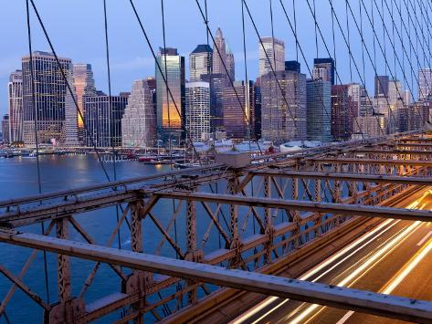 New York City, Manhattan, Downtown Financial District City Skyline Viewed from the Brooklyn Bridge  Photographic Print