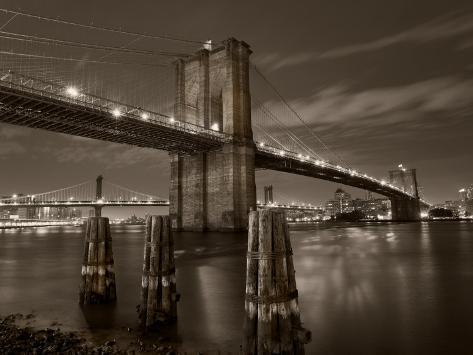 New York City, Manhattan, the Brooklyn and Manhattan Bridges Spanning the East River, USA Photographic Print