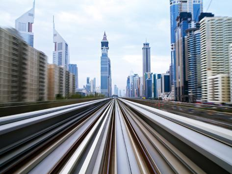 Opened in 2010, the Dubai Metro, Mrt, in Motion Along Sheikh Zayed Road at Dusk, Dubai, United Arab Photographic Print