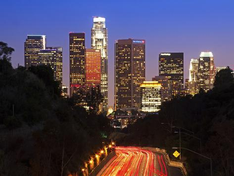 Pasadena Freeway (Ca Highway 110) Leading to Downtown Los Angeles, California, United States of Ame Photographic Print