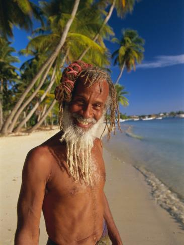 Portrait of a Rasta Man at Pigeon Point, Tobago, Trinidad and Tobago, West Indies, Caribbean Photographic Print
