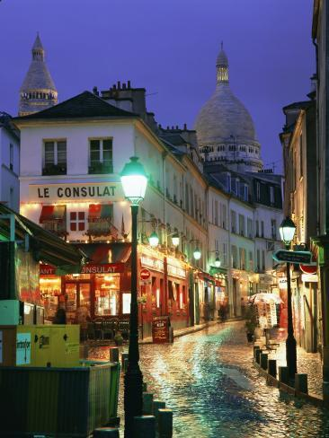 Rainy Street and Dome of the Sacre Coeur, Montmartre, Paris, France, Europe Photographic Print