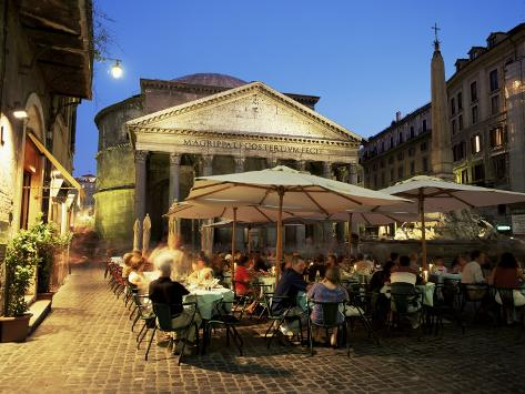 Restaurants Near the Ancient Pantheon in the Evening, Rome, Lazio, Italy Photographic Print
