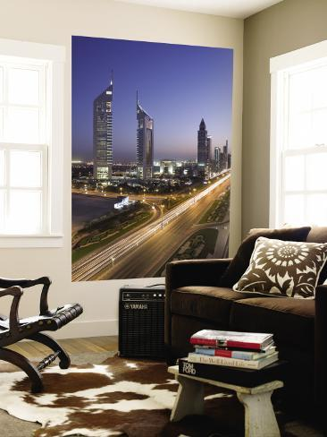 Sheikh Zayad Road and the Emirates Towers, Dubai, United Arab Emirates Wall Mural