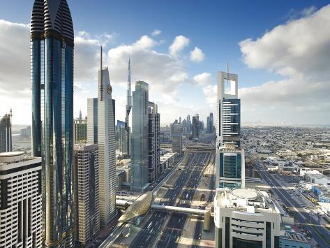 Skyscrapers Along Sheikh Zayed Road Looking Towards the Burj Kalifa, Dubai, United Arab Emirates Photographic Print