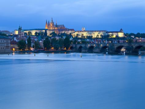 St. Vitus Cathedral, Charles Bridge and the Castle District Illuminated at Night, Prague, Czech Rep Photographic Print