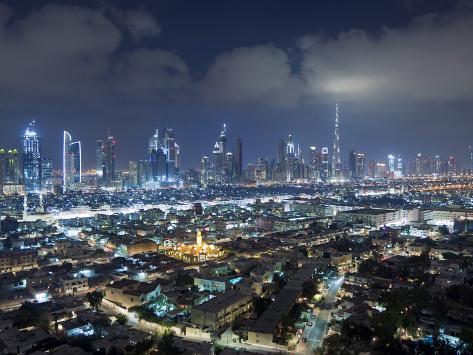 United Arab Emirates, Dubai, Skyline of Modern Skyscrapers Including the Burj Khalifa on Sheikh Zay Photographic Print
