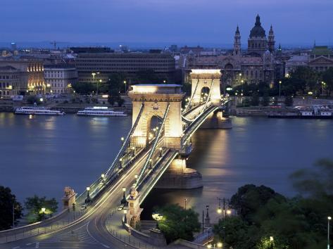 View Over Chain Bridge and St. Stephens Basilica, Budapest, Hungary Photographic Print