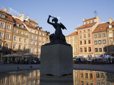 Warsaw Mermaid Fountain and Reflections of the Old Town Houses, Old Town Square, Warsaw, Poland Photographic Print