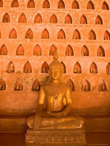 Buddha Images at Wat Si Saket, Vientiane, Laos Photographic Print