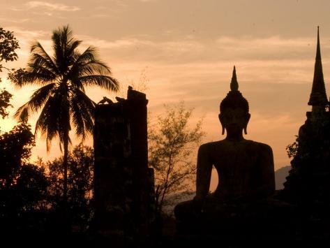 Buddha Statue and Sunset, Thailand Photographic Print