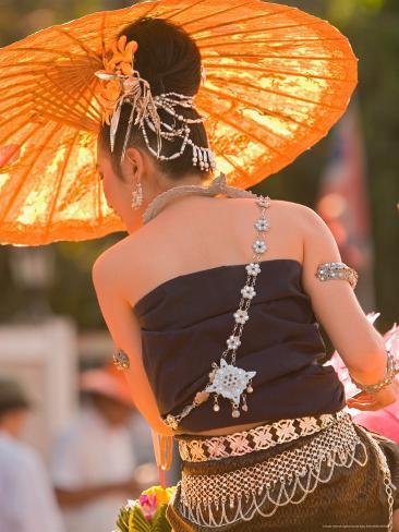 Girl in Traditional Dress Celebrating Loicratong Festival, Khon Kaen, Isan, Thailand Photographic Print