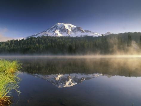 Mt. Rainier Reflecting in Lake, Mt. Rainier National Park, Washington, USA Photographic Print