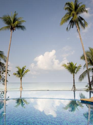 Palm Trees and Swimming Pool, Ko Chang, Kho Chang Island, Thailand Photographic Print