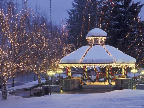 Gazebo and Main Street at Christmas, Leavenworth, Washington, USA Photographic Print