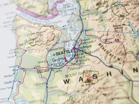 Map of Seattle Photographic Print