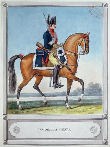 Gendarme Mounted on a Horse, C. 1812 Giclee Print