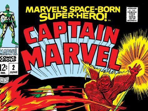 Captain Marvel No.2 Cover: Super Skrull and Captain Marvel Swinging Poster