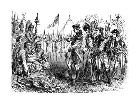General Burgoyne Addressing the Indians, 1777 Giclee Print