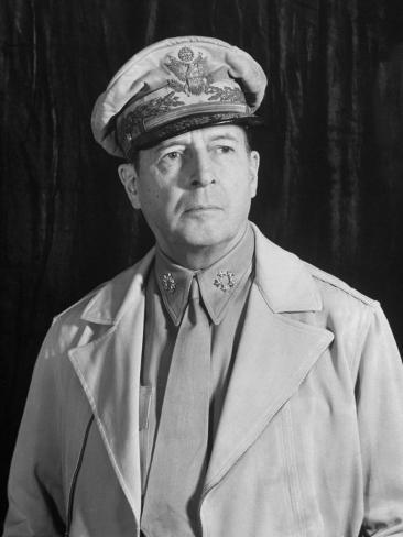 General Douglas Macarthur, Posing Seriously for His Portrait Stretched Canvas Print