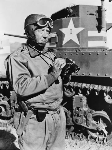 General George S. Patton, Commanding Officer of First Armored Corps Observing M3 Tanks, May 1942 Photo
