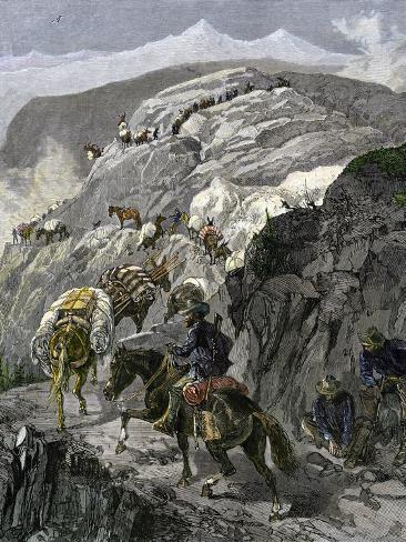 General Oliver Otis Howard Pursuing the Nez Perce Tribe on the Dead Mule Trail in Idaho, c.1877 Giclee Print