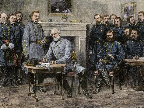 General Robert E. Lee Surrendering the Confederate Army to Union General Ulysses S. Grant, c.1865 Giclee Print