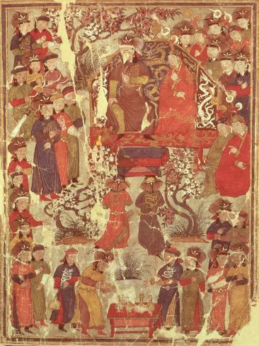 Genghis Khan and His Wife Bortei Enthroned Before Courtiers, by Rashid Ad-Din (1247-1318) Lámina giclée
