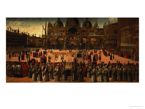 Procession in St. Mark's Square, 1496 Giclee Print