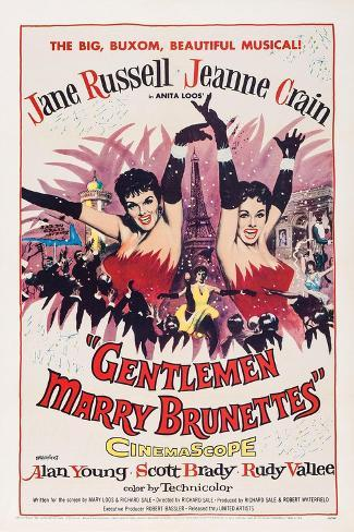 Gentlemen Marry Brunettes, Jane Russell, Jeanne Crain, 1955 Art Print