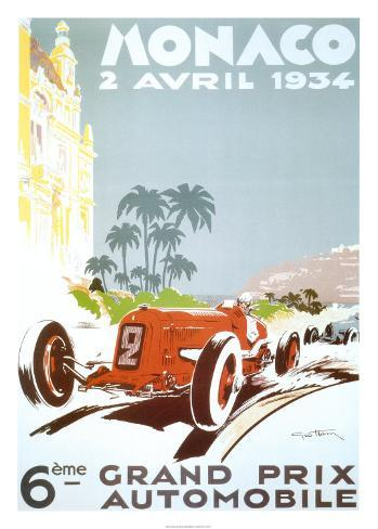 6th Grand Prix Automobile, Monaco, 1934 Art Print