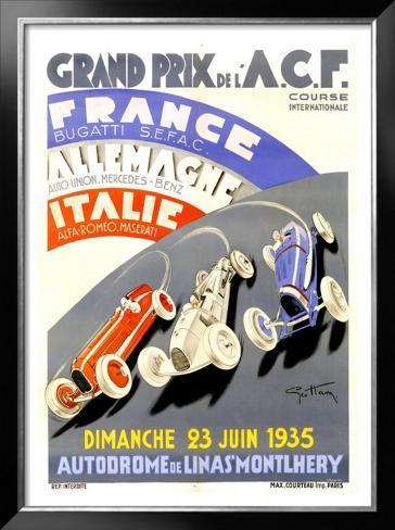 Grand Prix de l'A.C.F., 1935 Framed Giclee Print