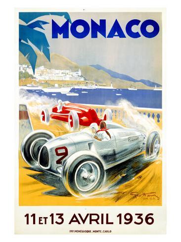 Monaco Grand Prix, 1936 Giclee Print